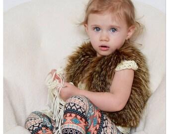 Metallic Lined Faux Fur Baby Vest