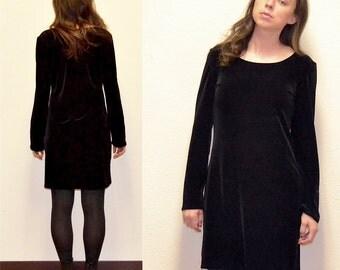 SALE!! 90s Black Velvet Dress