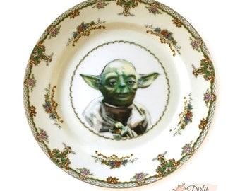 Vintage - Yoda - Illustrated - Plate - Upcycled - Sci Fi - Nerd - Geek - Art
