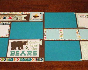 12x12 2-Page Premade Scrapbook Page Layout GREAT OUTDOORS Camping Summer Hiking