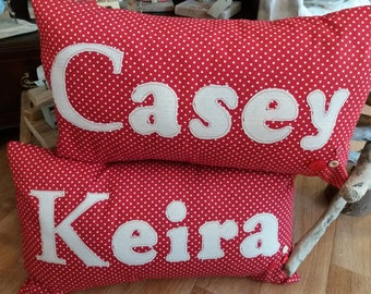 Personalised Cushion in red spotty fabric