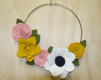 FELT FLORAL WREATH, Felt, Wreath, Felt Flowers, Gold Hoop, Modern Wreath