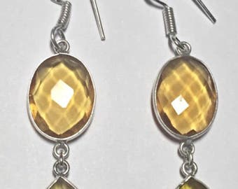 Citrine Quartz Dangling Earrings
