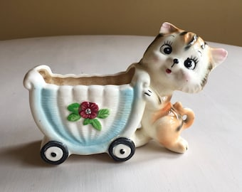 Cat and Baby Carriage Planter