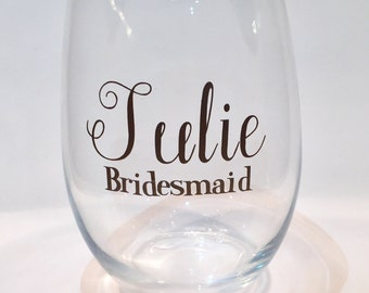 Personalized Gold Bridesmaids  21 oz Stemless Wine glass