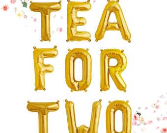 TEA FOR TWO Balloons, Rose Gold, Gold, Silver, Pink, Blue, 2nd Birthday Party, Alice in Wonderland, Tea Party, Mad Hatter Party Two