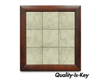 55 x 50 Polo Ralph Lauren Home Crotch Mahogany Wood Antiqued Venetian Mirror