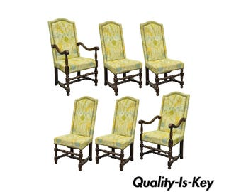 Set of 6 Vintage Jacobean Style Carved Oak Upholstered Dining Chairs American