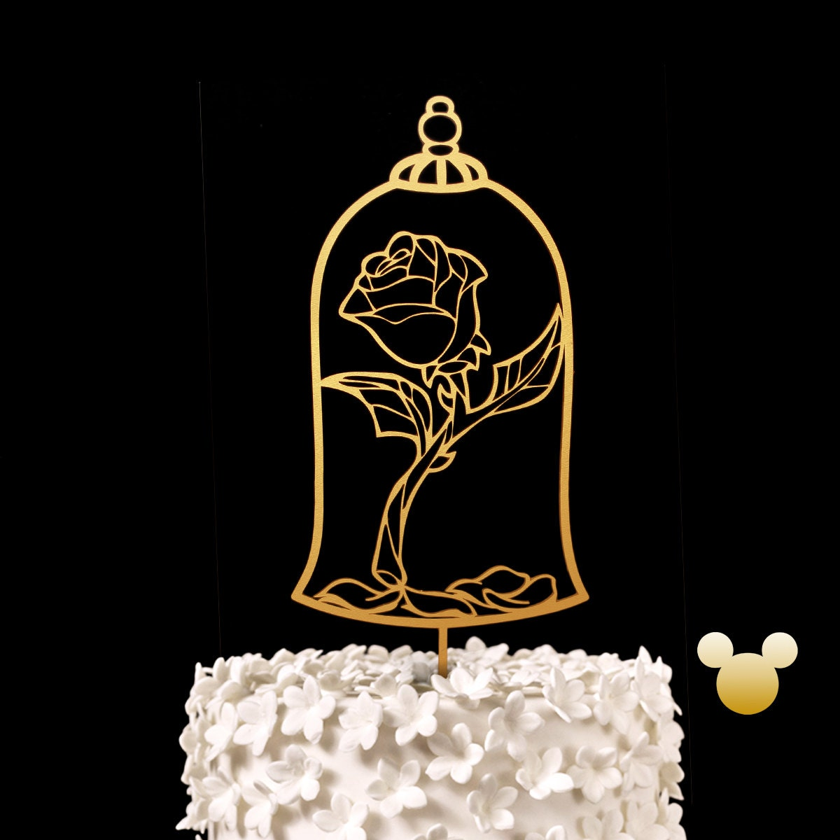 Enchanted Rose Wedding Cake Topper Beauty and the Beast