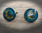 Jewellery for men - headlines Moon - gear and resin - bronze color buttons - blue - inspired steampunk Victorian - shirt