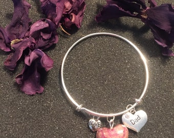 Miranda Style Expandable Remembrance Bead Charm Bracelet - Funeral Flowers - Flower Petal Jewelry - Memorial Gift - Silver Plated