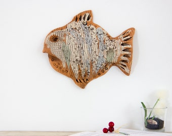 Wall decoration Ceramic fish sculpture, Wall Decor, Nautical Style 3D Art Fisherman gift Fathers day gift Gift for him Gift for men Husband