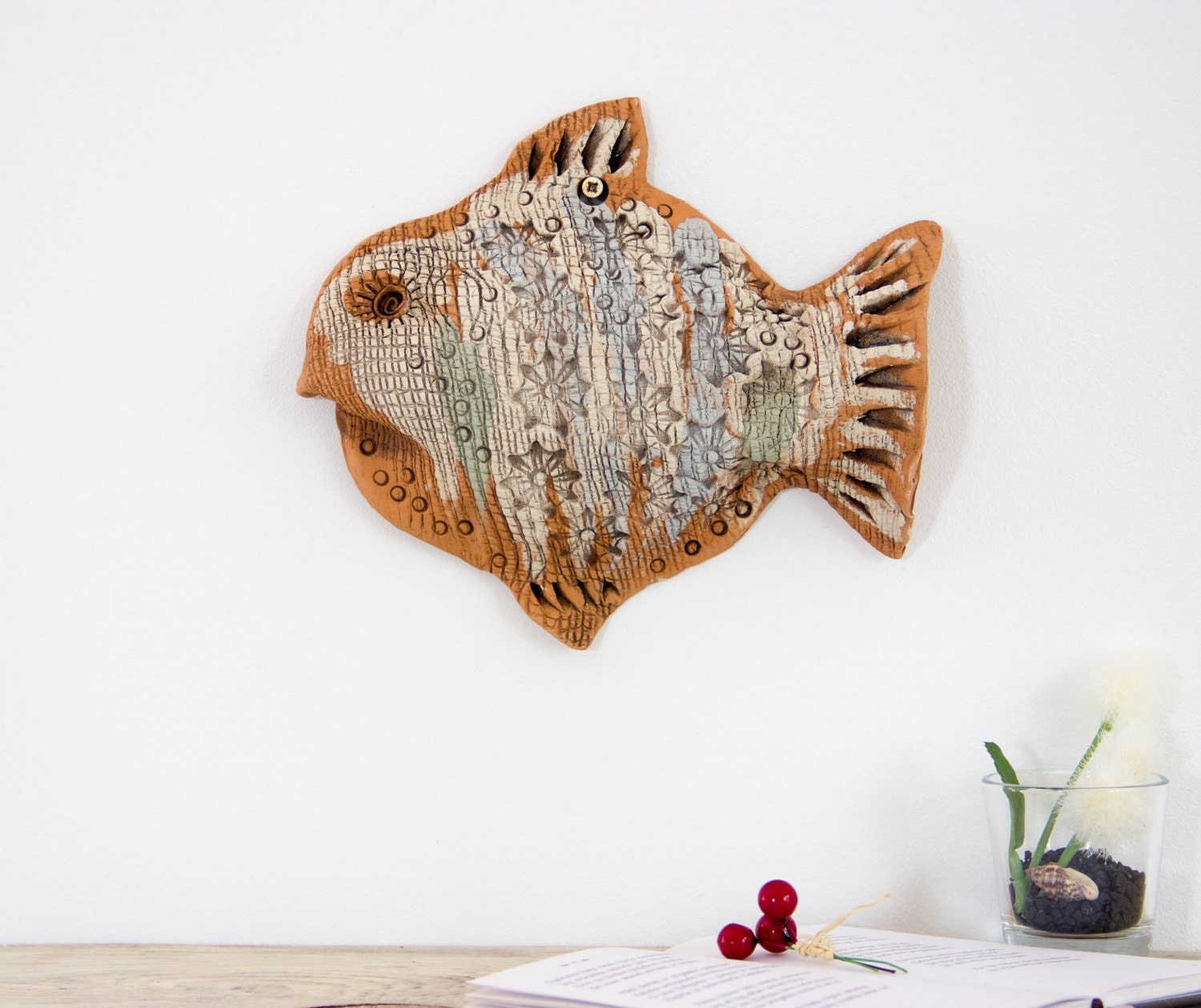 Wall Decor With Clay : Wall decoration ceramic fish sculpture decor nautical