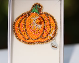 """Pins, embroidered brooch """"Pumpkin"""" embroidered on silk with threads and beads"""