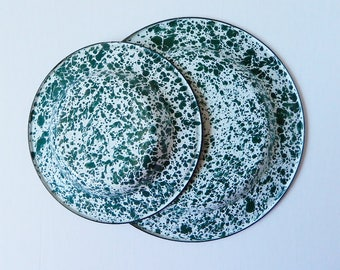Vintage Enamelware Green Splatter Paint Plate & Dish, Enamel Peltre Metal Serving, Camping Glamping Dishes, 2 Pc.