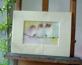 Original watercolor; Curious bird