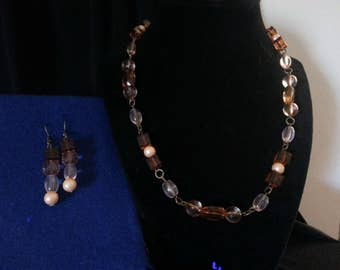 Brown and Peach Jewelry set