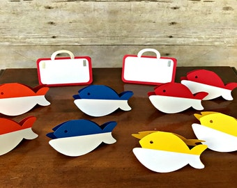 Fishing Place Cards/ Food Tents - gone fishing - the big one - party supplies