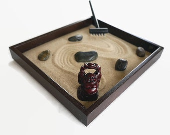 Zen Garden with Buddha Statue Office Desk Decor Meditation Stress Relieving Anxiety Toy - Happy Buddha Sand Garden Brown Office Gifts