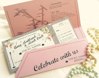 25 Wedfest Shabby Chic Rose Music Wedding Invitations With Wallets!