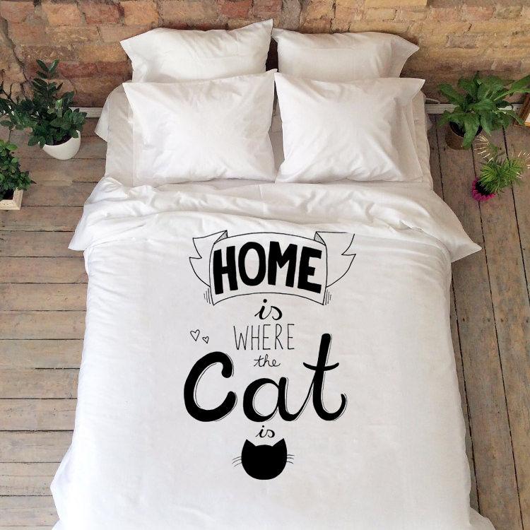 Meow Cat Bedding Set Queen King Full Double Duvet Cover Kitty