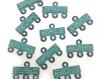 10 followers, green patina, 22mm, 10 pieces, connectors,