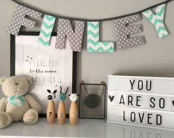 Personalised Mint Green and Grey Name Bunting
