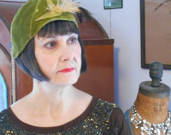 Awesome 1920's Style Olive Green Velvet Cloche with Celluloid & Feathers