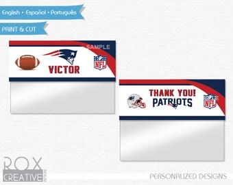 Patriots Birthday Favor Treat Bag Toppers, Patriots Printable Labels, Digital Design