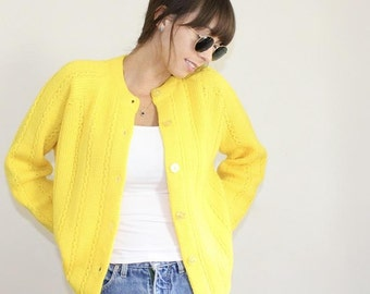 Vintage 1960s Yellow Cardigan / Fashioned by Lampl / Cable Knit Sweater / Bright Yellow / Button Down / Knitwear / Retro / 60s Clothing