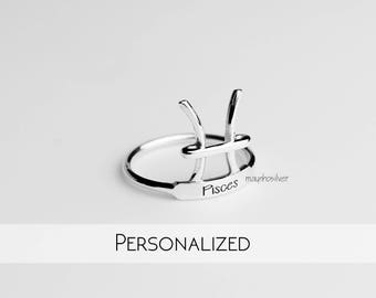 Pisces Rings | Zodiac Rings | Horoscope Ring | Zodiac Pisces Ring | Astrology Sign Rings | Personalized Zodiacs Rings