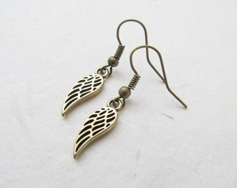 Wing earrings, bronze earrings, angel earrings