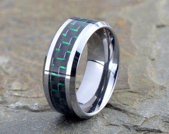 Mens Polished Tungsten Wedding Band, 9mm, Green Carbon Fiber inlay, Mens Ring, Green Carbon Ring, Personalized Ring, Mens Wedding Band