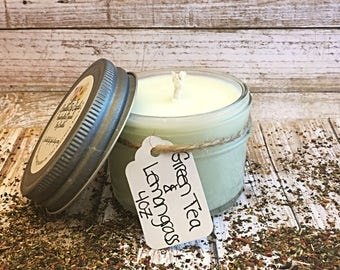 Green Tea and Lemongrass Scented All Natural Soy Candle - Essential Oil Candle - Lemon Candle - Tea Scented Candle - Earthy Candle - 4 oz