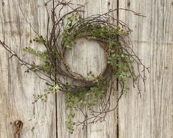 Twig Wreath,Primitive Wreath,Large Candle Ring,Summer Wreath, Primitive Decor, Storm Door Wreath, Shabby Chic, Rustic Wreath, Free Shipping