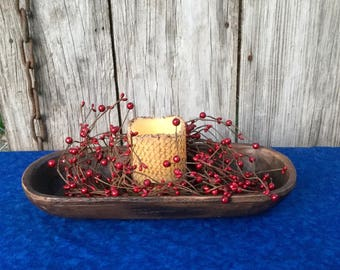 Primitive Treenware Centerpiece with Candle Ring and Flameless Candle-Rustic Centerpiece-Americana Decor-Patriotic Decor- Shipping