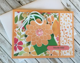Thank You Handmade Greeting Card with a beautiful Flower in Peek-a-Boo Peach and Pink Flamingo.