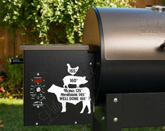 BBQ Grill Temperature Decal - Beef, Pork, Poultry. Cow, Pig, Chicken. Great for Traeger, Green Mountain Grill, Yoder, Mac Grills, Etc. ANGUS