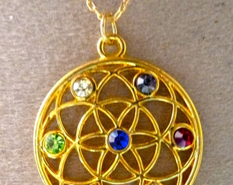 Flower of life pendant seed of life 7 chakras