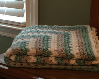 Granny Square Crochet Blanket Afghan Throw gray grey white teal purple pink