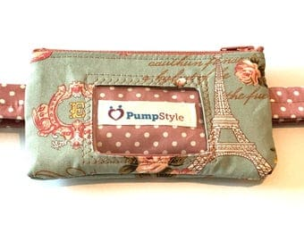 French chic Insulin Pump Pouch with clear vinyl screen