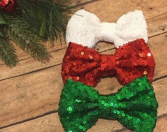 Christmas Sequin Collection - Christmas bow collection - Sequin Hair Bow set - Bows - Christmas Hair Bows - Sparkle Hair Bows