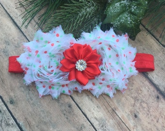 Christmas Headband  - Red and green headband - Baby headband - Newborn headband - Holiday headband - Flower Headband - Christmas colors