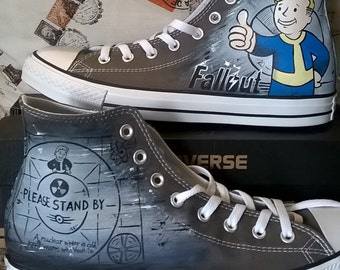 Fallout shoes, hand painted shoes , Fallout 4 , Fallout Vault boy , gamer gift