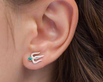 Trishula stud earrings. turquoise earrings. Sterling silver with Turquoise stud earrings. Indian earrings. Shiva Trishula earrings