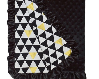 Black and Gold Baby Blanket