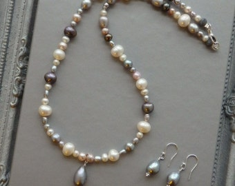 Freshwater Pearl Necklace, Pearl Earring, Matching Pearls, Bridal Pearls, Wedding Pearls