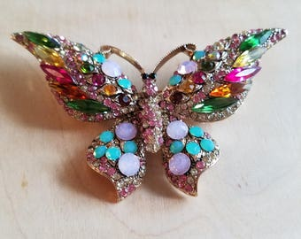 Crystal Butterfly Vintage Pin