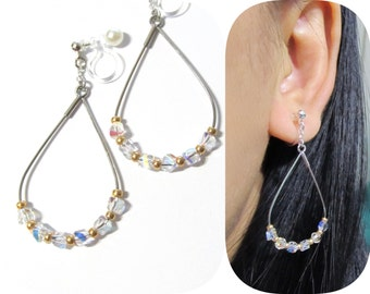Swarovski Rhinestone clip-on earrings  9D  Comfortable teardrop bridal Hoop clip on earrings Non Pierced InVisible wedding clip on earrings