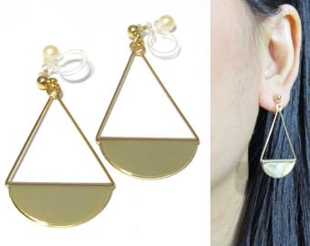 Gold Eclipse Half Moon Dangle Clip-on earrings |26G| Drop Long Clip Earrings For Non Pierced Ears Invisible Clip on Earrings Simple Clip-ons